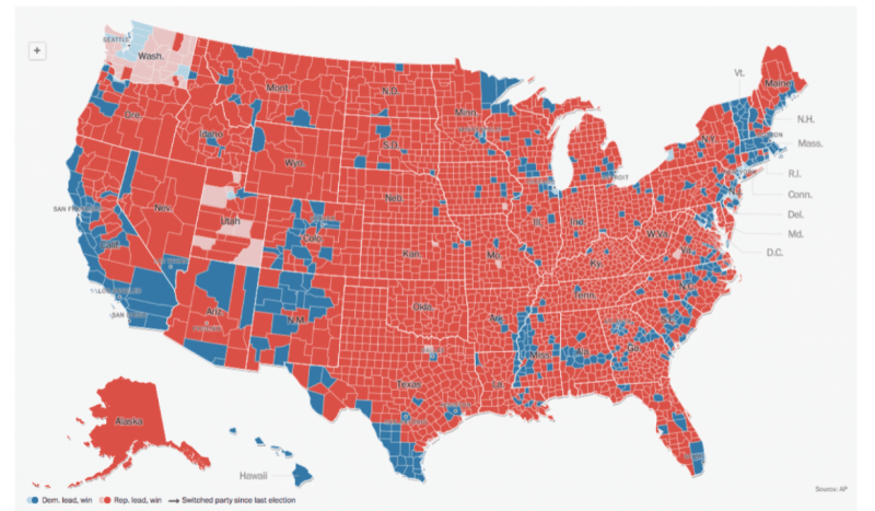 The 2016 Election In One Map Decline Of The Empire - Voting-map-2016-us